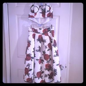 2pc High Waisted Floral Skirt and Croptop Bustier